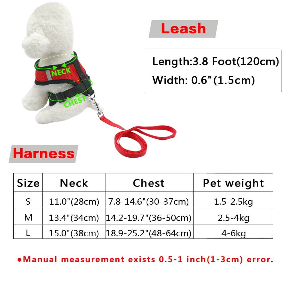 Fitting size Guide for Petsasa Breathable Dog Harness and Leash