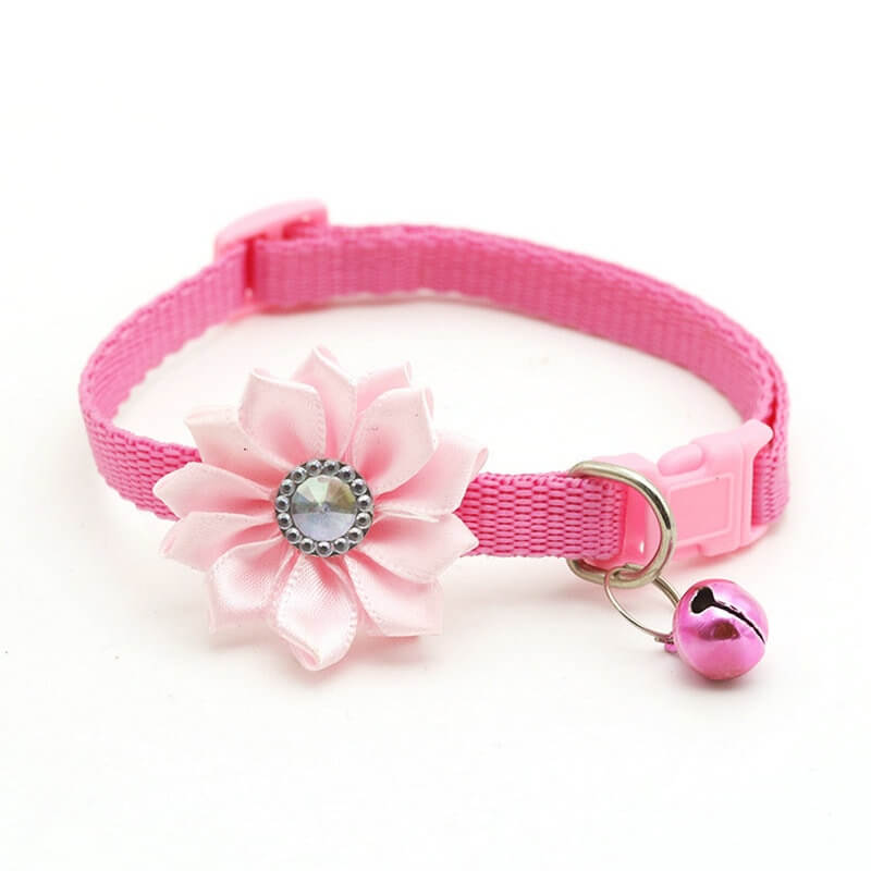 Cat-Dog-Collar-Bell-Necklace-Collar-For-Small-Dog-Puppy-Buckle-Cat-Collar-Bell-Flower-Spawtive