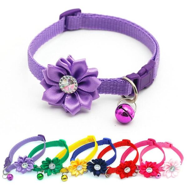 Pet-Cat-Dog-Collar-Bell-Flower-Necklace-Collar-For-Cats-Small-Dog-Puppy-Buckle-Cat-Collar-Bell-Nairobi-Spawtive-Kenya