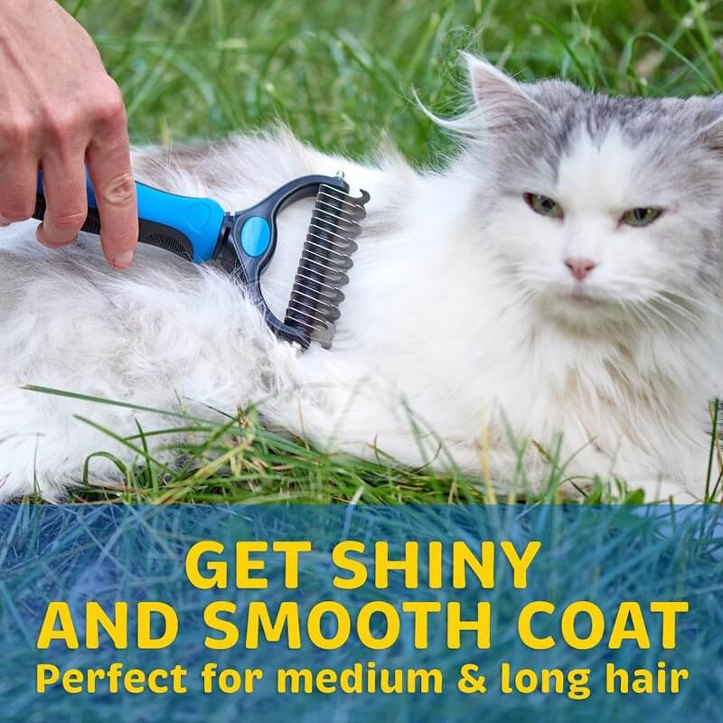 New Petsasa Pet Hair Removal Detangler Comb for Dogs Cat Double sided Brush