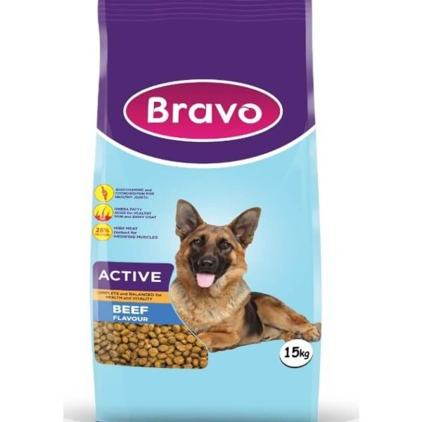 Bravo Active Dry Dog Food Beef Flavour