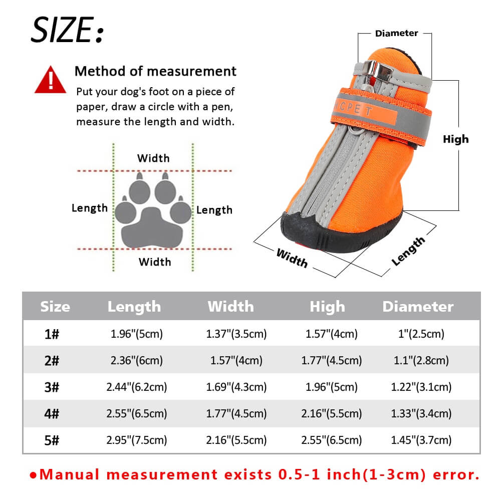 Size Guide for Waterproof Anti-slip Reflective Pet Rain Boots Dog Shoes in Kenya