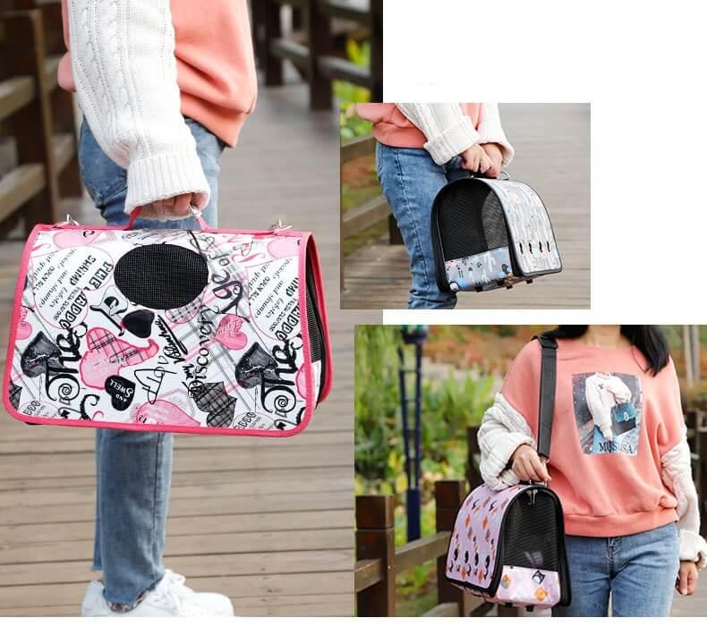 Petsasa Cute Polka Cat & Dog Breathable Pet Carrier Bag for Travel