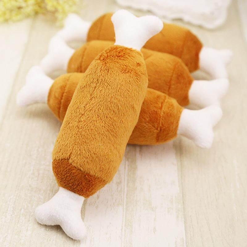 Petsasa-Kenya-Dog-Double-Bone-Chicken-Leg-Shape-Plush-Toy-Dog-Vocal-Chew-Toy-Pet-Exercise-Dental-Toy