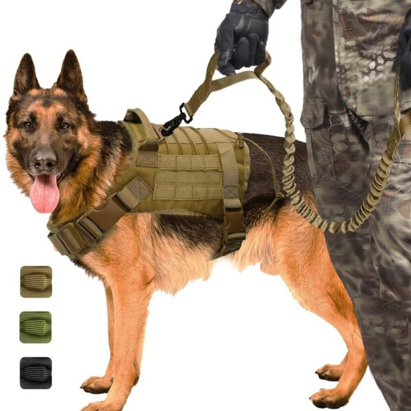 Military Tactical Bungee Elastic Dog Leash in kenya-Working-Dog-Nylon-Bungee-Leash-Lead-Training-Running