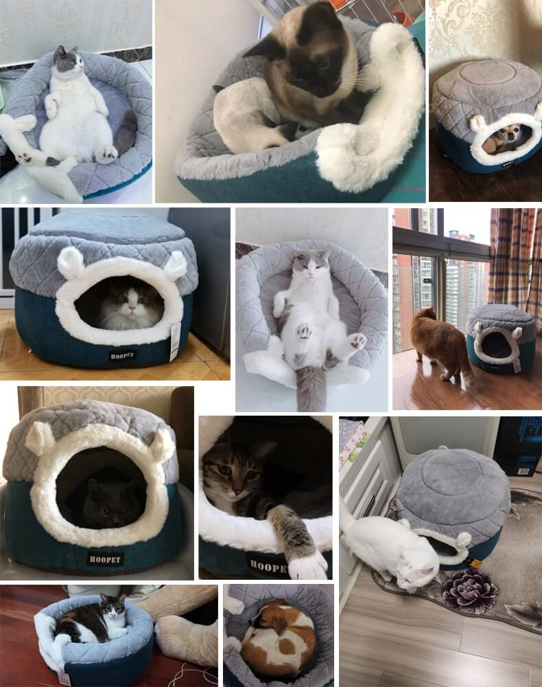 Plush Sleeping Cat Bed House