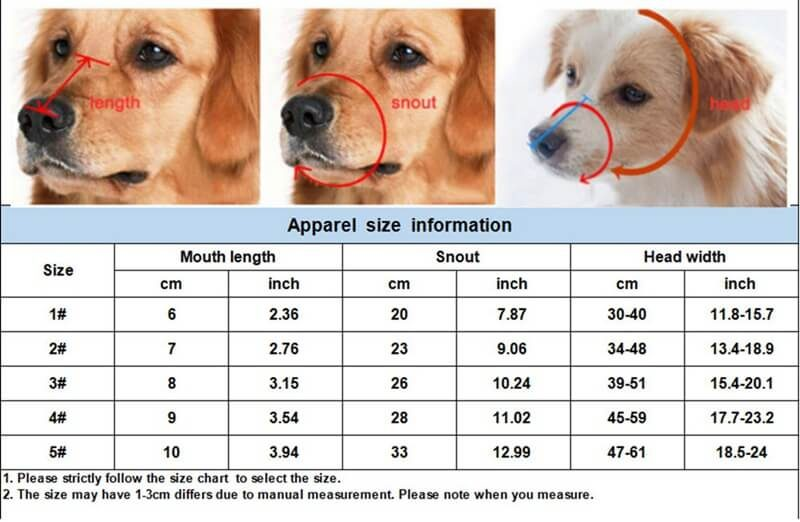 Size Guide For Basket Dog Muzzle for Small, Medium and Big Large Dogs