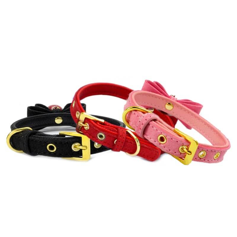 Buy Bowknot PU Leather Cat & Puppy Collar For The Royal Pets