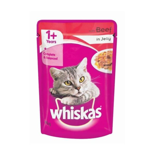 Buy Whiskas Adult (+1 Year) Wet Cat Food, Beef in Jelly on Petsasa Petstore in Nairobi