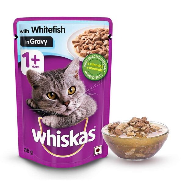 Buy Whiskas Adult (+1 Year) Wet Cat Food, Whitefish in Gravy, 12 Pouches in Kenya on Petsasa