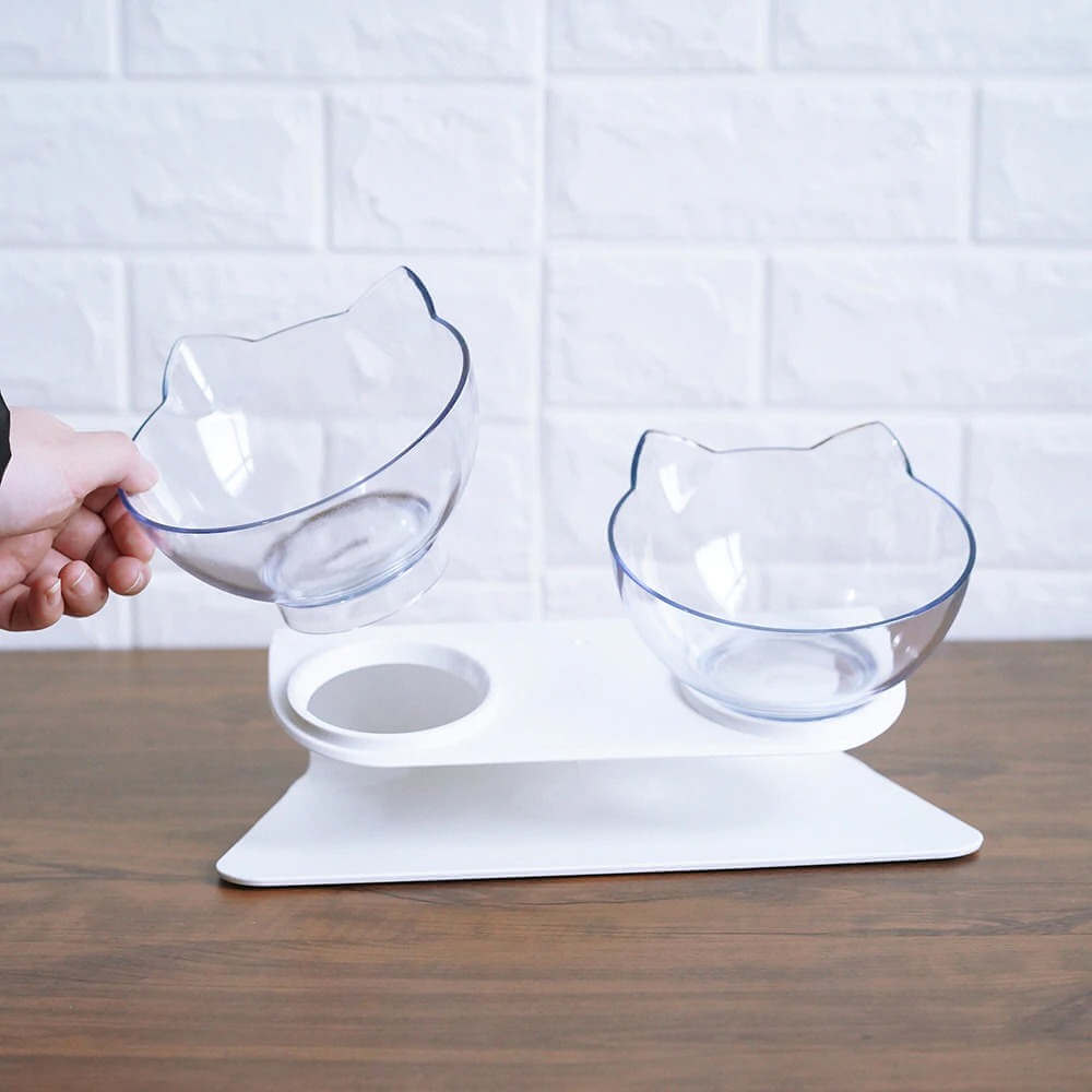 Buy Clear Glass Raised Pet Cat Bowl KittyPro Elevated Cat Food Bowl Double Diner in Kenya on Petsasa