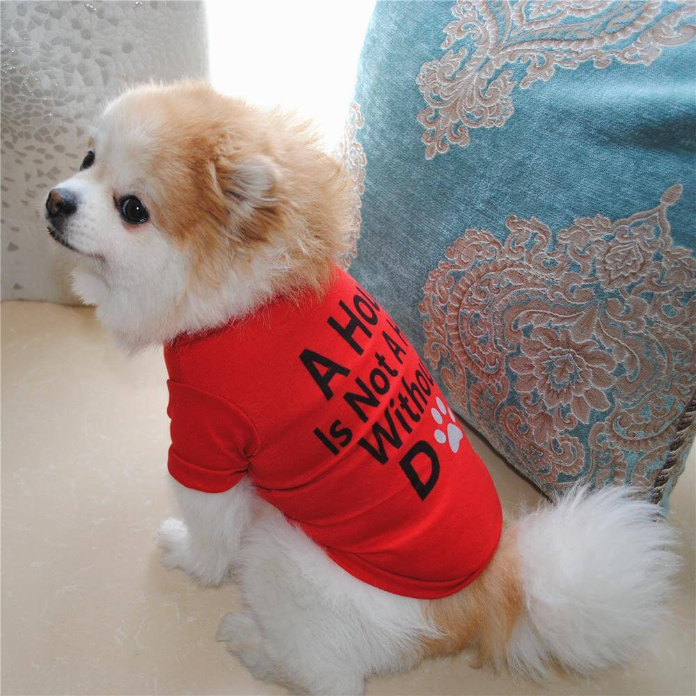 Buy Red A House is Not Home Without A Dog Summer Dog T-Shirt in Kenya on Petsasa pet store kenya for small, medium and large dogs