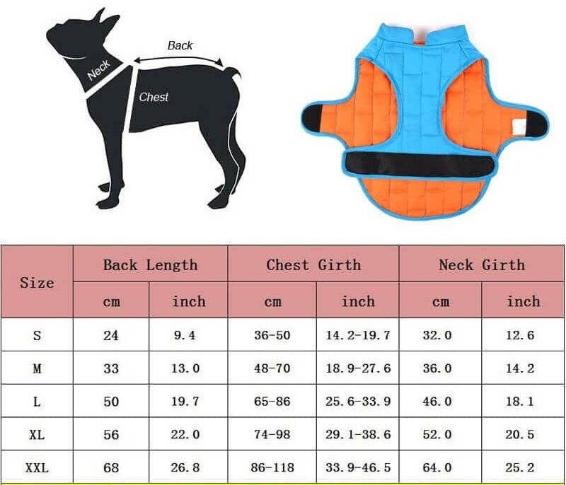 Petsasa Padded Dog Jacket for Small, Medium and Large Dogs
