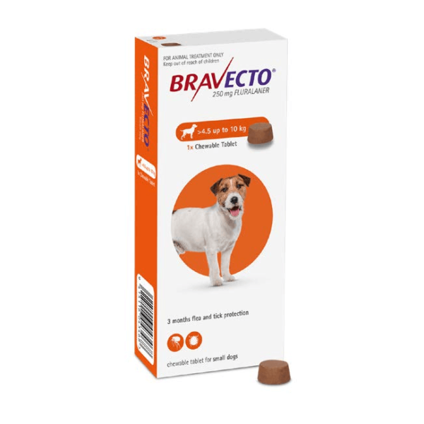 Bravecto for Small Dogs 4.5 to 10Kg Flea & Tick Chewable Tablets in Nairobi at Petsasa Petstore in Kenya