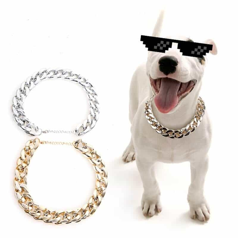 Tiny Bling for Small Dog or Puppy - Lightweight Braided Metal Look - Fits Chihuahua, Yorkie, Mini Breeds - Cute Pet Jewelry and Accessories Dog Bling Jewelry Silvery & Gold Link Chain Necklace for Dogs in Nairobi Kenya